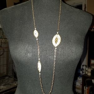 Jewelry - Vintage long Goldtone Beaded Necklace
